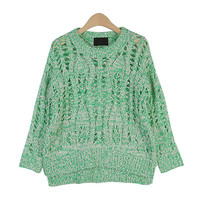Color Marled Round-Neck Knit Top by Stylenanda