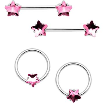 "14 Gauge 9/16"" 1/2"" Pink Star Gem BCR Barbell Nipple Ring Set"