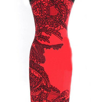 Black and Red Color Block Short Sleeve Floral Print Midi Bodycon Dress