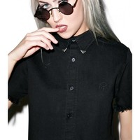 Disturbia Exile Cropped Shirt | Dolls Kill
