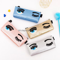 Luxury Brand Blink Eyes Women Makeup Cosmetics Bag Pearl Leather Wink Pencil Case Eyes Closed Open Make Up Travel Storage Pouch