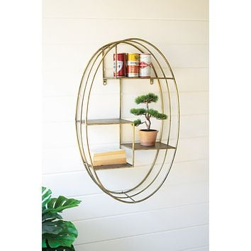 Tall Oval Brass Finish Wall Shelving Unit