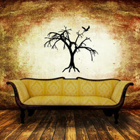 Wall Decal Creepy Tree Style B with Bird Halloween Removable Vinyl Wall Decal 22461