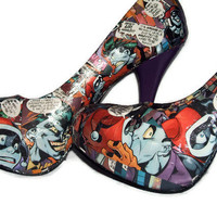 Joker and Harley Quinn Comic Book Shoes Stilettos Purple Heel - Geekery Clothing Shoes