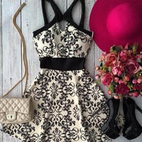 Retro Fashion  Female Digital Print Crisscross Strap Bodycon Short Skirt Mini Dress