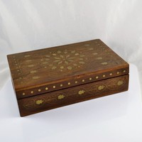 Wood Jewelry Storage Box Rosewood w/ Brass Inlay Vintage Mid Century 4 Compartments Red Lined Boho Stash India