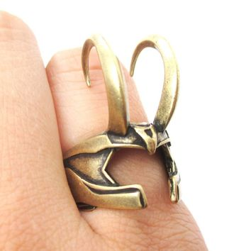 3D Realistic Loki Helmet Shaped Adjustable Ring in Brass | Avengers Themed Jewelry