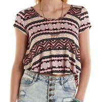 Strappy-Back High-Low Printed Tee by Charlotte Russe