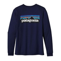 Patagonia Men's Long-Sleeved P-6 Logo Organic Cotton T-Shirt | Classic Navy