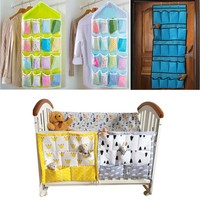 Crib Baby Bed bumper Hanging Storage Bag Multi-functional muslin Baby Cot pocket Hanging Storage Bag Baby Bedding Bumper