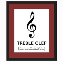 Treble Clef Black and White - Art Print - Musical Notation Typography Poster - Gift for Musician Music Teacher - 8 x 10 Wall Art Decor