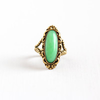 Vintage Brass Peking Glass Ring - Art Deco Adjustable Brass Germany Wire Wrapped Costume Statement Green Glass Jewelry