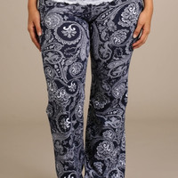 Plus Size Navy Paisley Yoga Pants