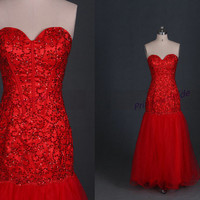 Long red tulle prom dresses with rhinestones 2014,chic sweetheart women gowns for wedding party,cheap homecoming dress under 200.