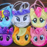 new arrive 6 colors Children My Little Pony Plush Handbags/Baby Colorful Cute Horse Bags/Shopping Bags Kids Cartoon Bags/Wallets D079