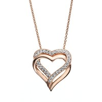 Crystal 14k Rose Gold Over Silver-Plated Heart Pendant Necklace (White)