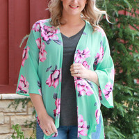 Romance Is In The Air Floral Kimono With Bell Sleeves ~ Mint ~ Sizes 4-12