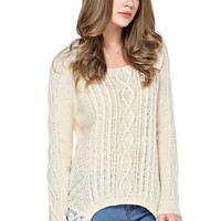 TopStyliShop Women's Round Neck Lace Back Sweater with Dip Hem D1117