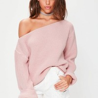 Missguided - Pink Off Shoulder Knitted Sweater