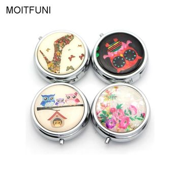 Metal Folding pill case Medicine Organizer Pill Box Makeup Storage Container