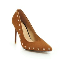 Lady Pointed Toe Sexy Super High Heels with Rivet Shallow Mouth Woman Pumps Stiletto Heel Wedding Shoes