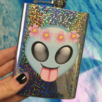 Holographic Alien SASSY // 8oz stainless steel, emoji, funny flask, flower power, 90s, girl power, alien, hipsters approve, 90s, but not