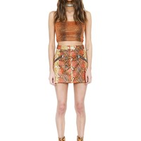 RITA SKIRT - ORANGE SNAKESKIN