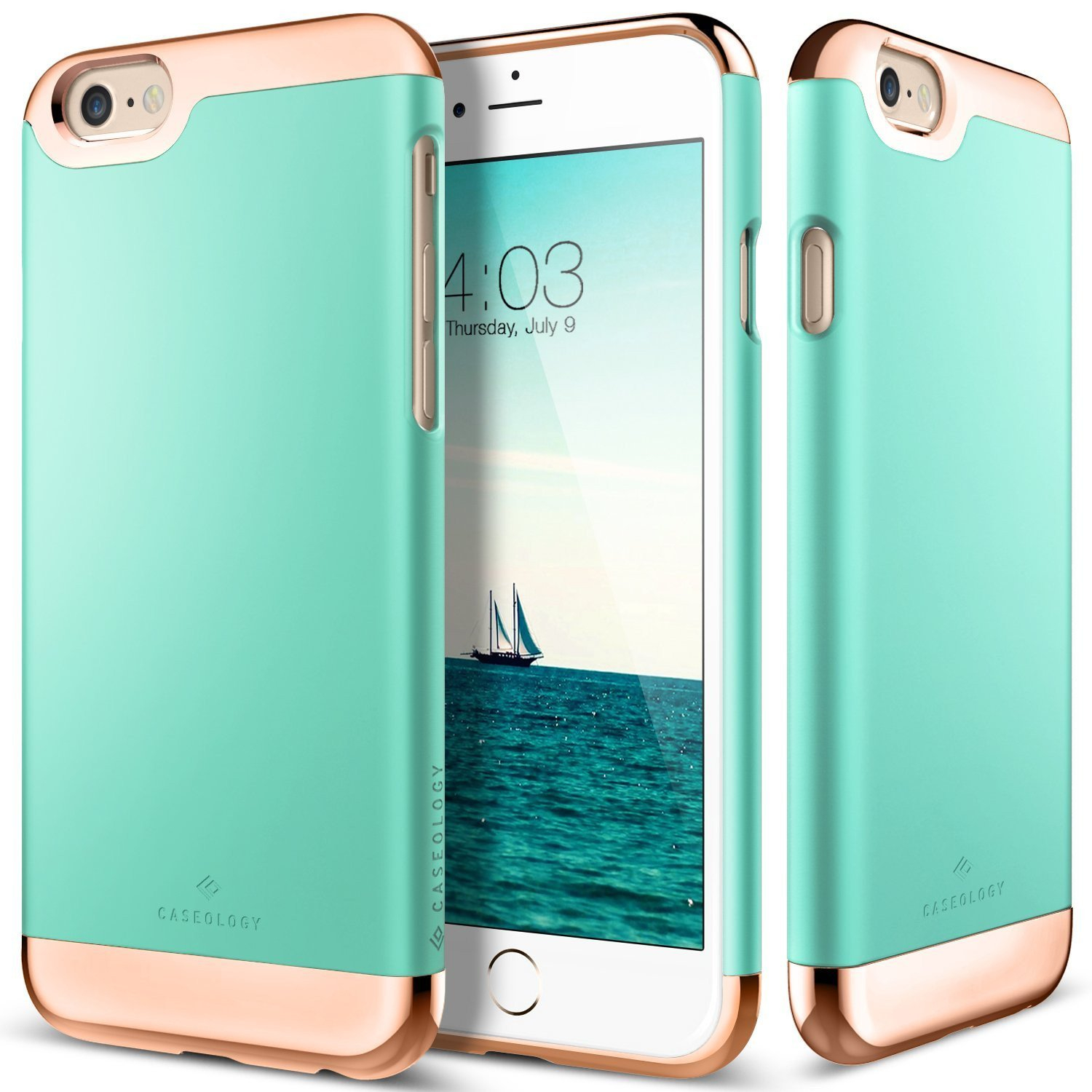 Image of The Turquoise Mint and Gold Dual Layer Slider / Soft Interior Cover iPhone 6/6s or 6/6s Plus Case