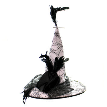 Halloween SPIDER WEB WITCHES HAT Fabric Felt Rosette Bow W/ Feathers Rd0021 Grey