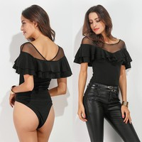 Women Bodysuit Overalls For Women Elegant Leotard Plus Size Rompers Hot Womens Body Short flounce gauze Macacao Feminino Curto