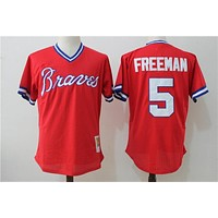 Mens Atlanta Braves Freddie Freeman Mitchell & Ness Red 1980 Authentic Cooperstown Collection Mesh Batting Practice Jersey