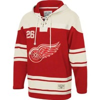 NHL Old Time Hockey Detroit Red Wings Lace Jersey Team Hoodie - Red (XX-Large)
