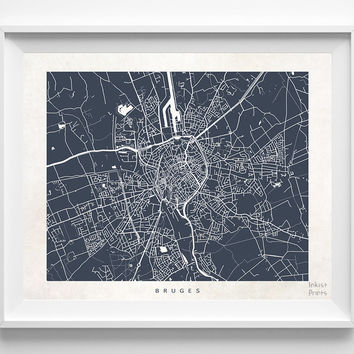 Bruges, Belgium, Print, Map, Poster, State, City, Street Map, Art, Decor, Town, Illustration, Room, Wall Art, Customize, Gift, Bed Room