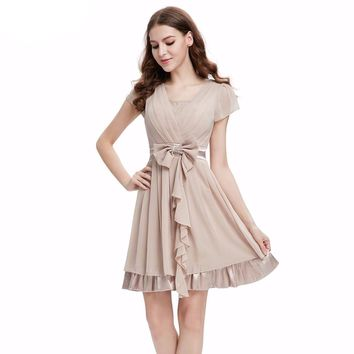 Cap Sleeve Camel V Neck Rhinestones Padded Bridesmaid Dress