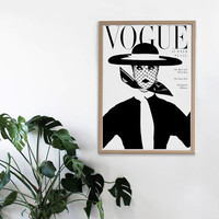 Fashion Art - Vintage Vogue Cover - Fashion Poster - Printable Print - Fashion Illustration - Fashion Artwork - Black and White