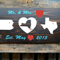 Rustic Wood Sign - Two States, One heart, Established sign, wedding gift, anniversary present, housewarming gift, marriage sign, family est