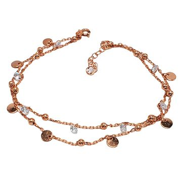Clear Zirconia Two Strand Minimal Dangle Coins and Drop Body Chain Anklet Handcrafted 925 Sterling Silver Rose Gold,White Gold,14K Gold Option/s Available