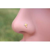 Rose Gold Nose Ring Cross Rose Gold Nose Stud