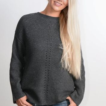 Charcoal Open Back Sweater