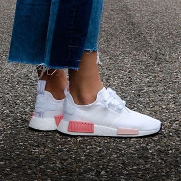 Sale Adidas WMNS NMD R1 Footwear White/Icey Pink Boost Sport Running Shoes Classic Casual Shoes Sneakers