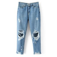 Women Ripped Hole Jeans Feminina High Waist Jeans Plus Size Hole Mom Casual Denim Pants Pantalon Femme Full Length