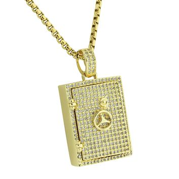 """Safety Vault Lock Pendant Fully Bling 14K Yellow Gold Finish Stainless Steel 24"""" Box Necklace"""