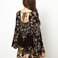 Free People Printed Mini Dress with Fluted Sleeve