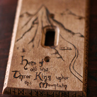 The Hobbit Lonely Mountain map light switch wall panel