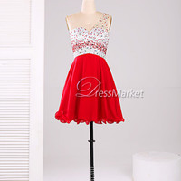 Knee length one shoulder red and white open back beading chiffon homecoming dress,Red and white sparkle cocktail dress,short prom dress