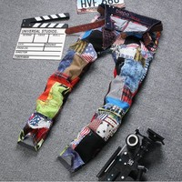 Men Men's Fashion Simple Design Stylish Pants Print Korean Jeans [6528576451]