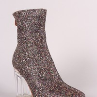 Glitter Chunky Clear Heeled Ankle Boots
