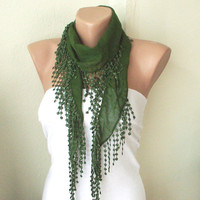 Forest Grass Green 100 Cotton Spring Scarf with Lace by Periay