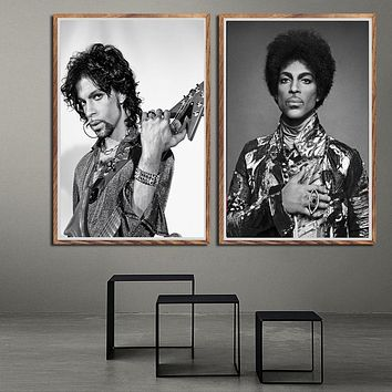 Prince Rogers Nelson Black White Rock music Singer Pop star Poster Prints Art Painting Wall Pictures For Living Room Home Decor