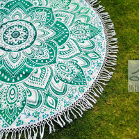 Beach Throw Round Mandala - Green Lotus Flower - Beach Towel - Picnic Blanket - Yoga Mat 3061